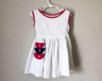 Vintage 50s Toddler Dress - 1950s 1960s Little Girl Red White Navy Blue Full Twirl Circle Skirt Summer Waffle Knit Sundress 3 3T