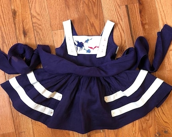 Vintage 1960s Girl's Dress / 50s 60s Semi-Sheer Navy Red White Organdy Suspender Skirt Full Cricle Sweep Dress 3 3T Toddler Fish Embroidery