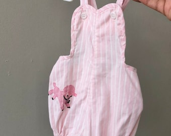 Vintage Baby Sunsuit / 50s 60s Stoneswear Pink Summer Sun Suit Romper Baby Girl 6 9 12 Months Infant One Piece Midcentury