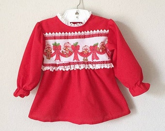 7e1b5661b4 Vintage Strawberry Shortcake Top   70s 80s Toddler Girl Nightgown Red  Fleece Lace Pajama Top Fall Winter Toddler PJ PJs Night Gown 24 Mo 2T