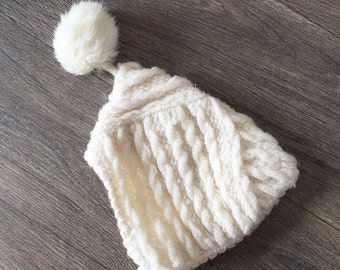Vintage Baby Pixie Pom Hat / 1950s Knit Soft Acrylic (?) Pixie Hat and Pom Detail - Approx 6 9 12 months