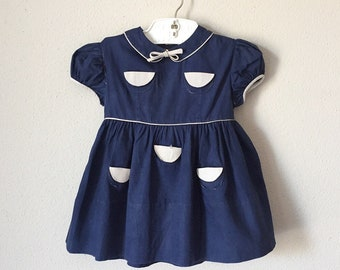 Vintage 1950s Toddler Dress / 50s 60s Baby Navy Gray Rare Design Pocket Cotton Blue Peter Pan Collar Dress 1960s 12 18 24 Months 1 Year
