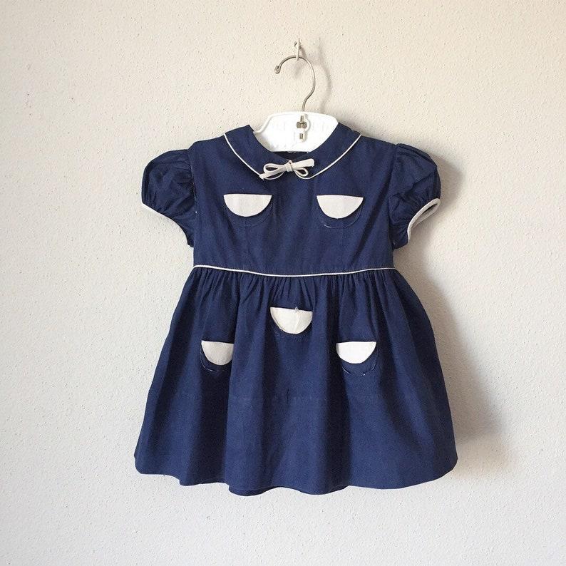 3b97ffc52eb Vintage 1950s Toddler Dress   50s 60s Baby Navy Gray Rare