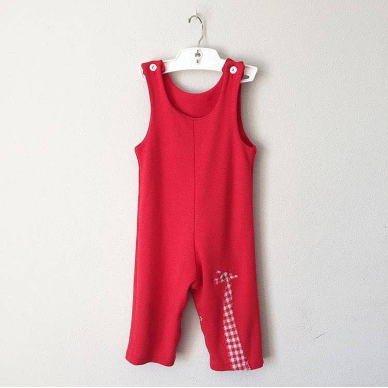 9ff4de52c6e9 Vintage 1960s Overalls 60s 70s Unisex   Baby Boy Girl Red