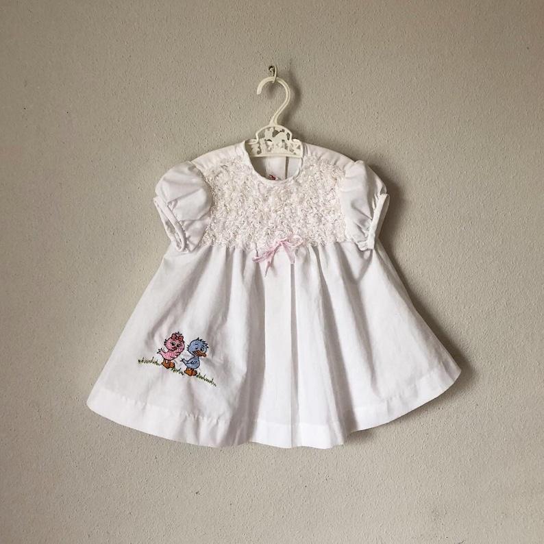 668ba9636c7 Vintage 1960s Girls Dress   60s White Ruffle Bib Dress