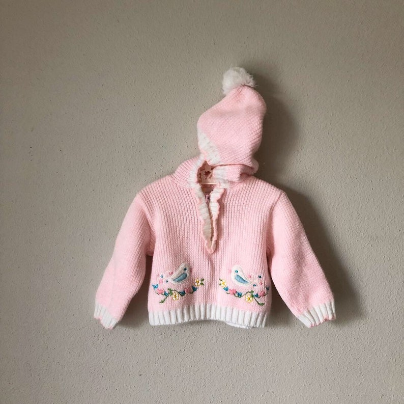 a934e451642 Vintage Pixie Sweater 80s 90s Baby Girl Pink Winter Pixie