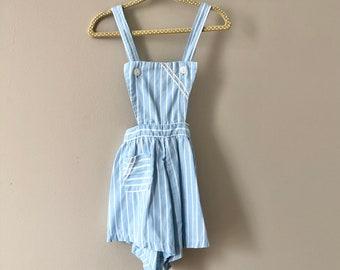 Vintage Toddler Romper - 40s 50s Baby Unisex Boy Girl Sun Suit Playsuit Striped Blue White Romper 2 2T Midcentury Striped Ric Rac Trim