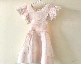 Vintage 1950s Pinafore Dress - 40s 50s 60s Flutter Shoulder Pinny Organdy Floral Embroidery Toddler Girl Dress 2 2T 3 3T