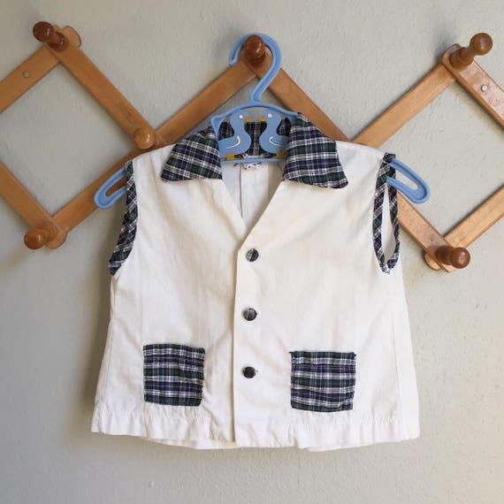 85bc06085ce Vintage 50s Baby Top Boys Unisex 1950s Baby Blue Plaid Trim