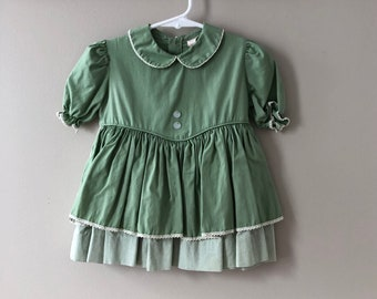 Vintage 1950s Girl's Dress - 50s 60s Olive Green Sweet Puff Sleeve Dress with Attached Apron Pinstripe Toddler Girl 18 24 Months