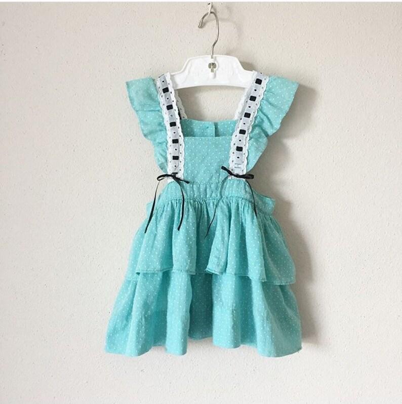 969519d2f86 Vintage 1940s Pinafore Dress 40s 50s Teal Swiss Dot Lacy Ruffle Hem ...