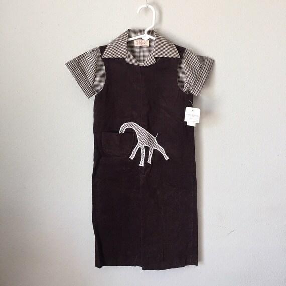 Vintage des années 1960 une salopette-60 s 70 s nouveauté marron chocolat girafe Corduroy salopette Combi hiver Longalls bambin enfant 2 t 3 t 3
