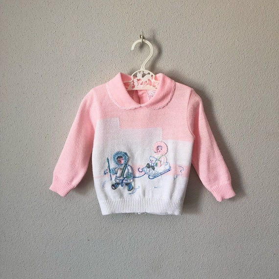 0f5574629 Vintage Infant Sweater   70s 80s Novelty Fuzzy Kitsch Winter