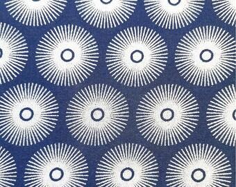 Tissu shweshwe Indigo - motifs soleil - 100% coton