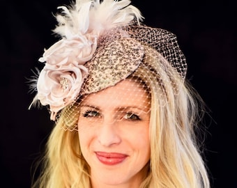 Fascinator Hat Blush Pink Kentucky Derby Hat Conservancy Luncheon  Derby Party Mother of the Bride Royal Ascot Hat Famous Hat Luncheon
