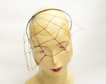 Black Spiderweb Fascinator Headpiece Crown Halloween Costume Party Queen Witch Gothic Pirate Fair Cosplay