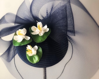 Fascinator Kentucky Derby Hat Lily Pad Garden Party Race Hat Olmsted Central Park Famous Hat Luncheon Tea Party Navy Blue Green Fashion