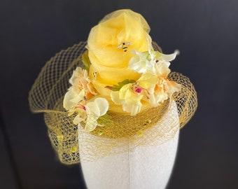 Fascinator Yellow Kentucky Derby Hat, Preakness Belmont Breeder's Cup Steeplechase Queen Bee Theme Luncheon Tea Party Vintage Millinery
