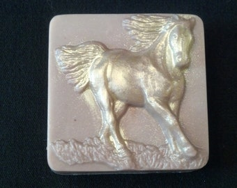 Goats Milk and Glycerin Running Horse soap bar in masculine Mayan Gold fragrance by Lavish Handcrafted