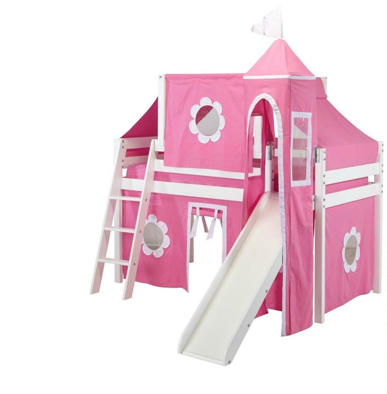 Twin Deluxe Loft Bed with Slide Pink/White Curtain Tower and image 0