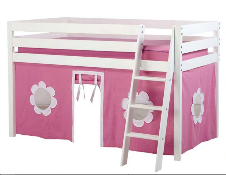 Twin Loft Bed with Hot Pink/White Curtain White image 0