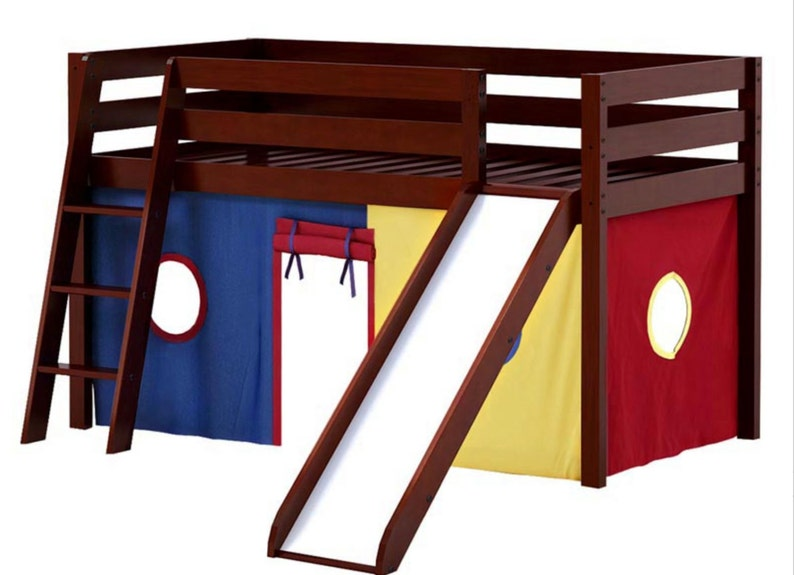Twin Loft Bed with Slide Blue/Red/Yellow Curtain Cherry image 0