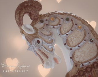 Carnival Photography, Title: Heart of the Carousel Close-up, whimsical wall art, girls room decor, vintage carousel horse, hearts, pastel