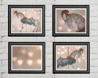 Nursery photo, Title: The Heart of the Carousel, carousel photography, Set of 4 Prints, girls wall art, pastel,bokeh hearts,vintage carousel