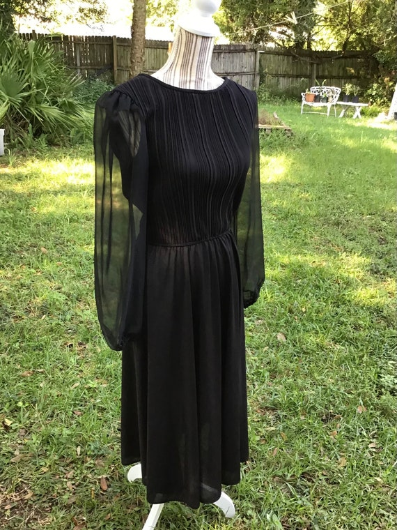 Vintage Gorgeous Black Sheer Fancy Dress / Size Me