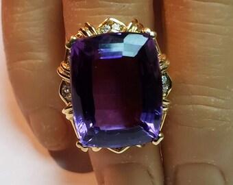 18K Amethyst Diamond Ring