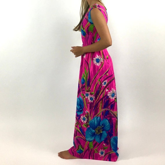 60s Hot Pink Palazzo Jumpsuit Bright Blue Floral … - image 4
