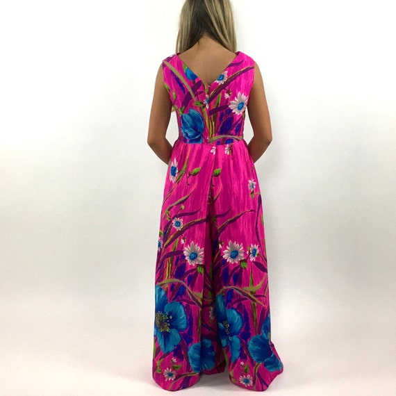 60s Hot Pink Palazzo Jumpsuit Bright Blue Floral … - image 8