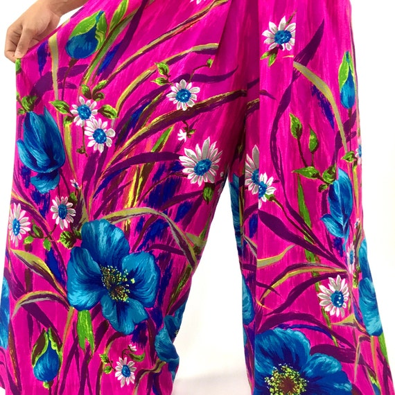 60s Hot Pink Palazzo Jumpsuit Bright Blue Floral … - image 7