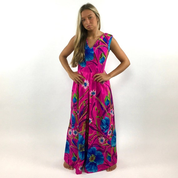 60s Hot Pink Palazzo Jumpsuit Bright Blue Floral … - image 5