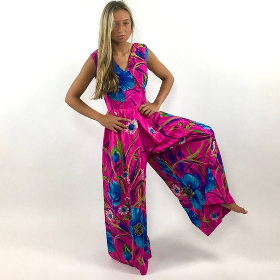 60s Hot Pink Palazzo Jumpsuit Bright Blue Floral … - image 3