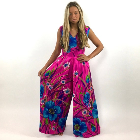 60s Hot Pink Palazzo Jumpsuit Bright Blue Floral … - image 9