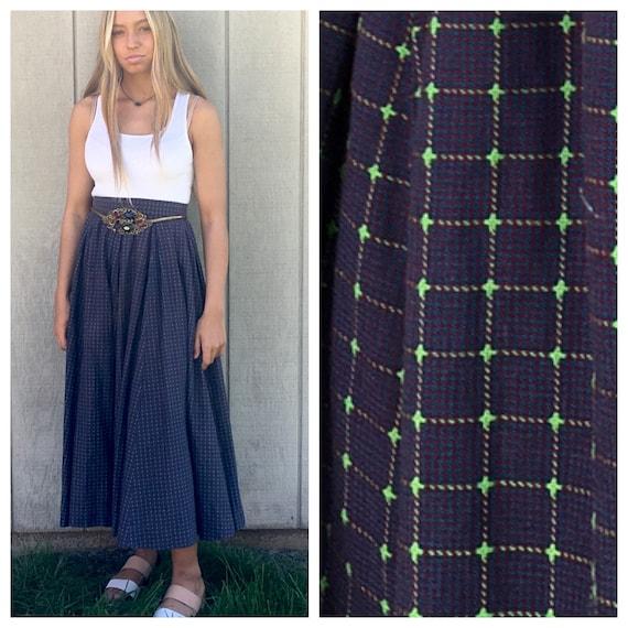 waist 26 90s grunge key lime green and blue floral skort size 7