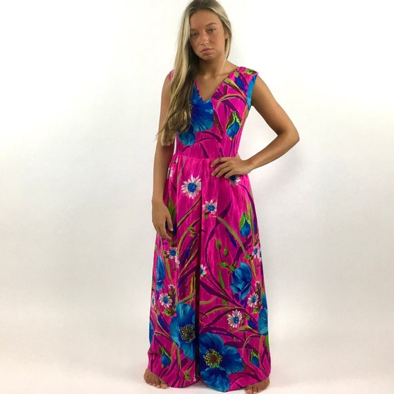 60s Hot Pink Palazzo Jumpsuit Bright Blue Floral … - image 2