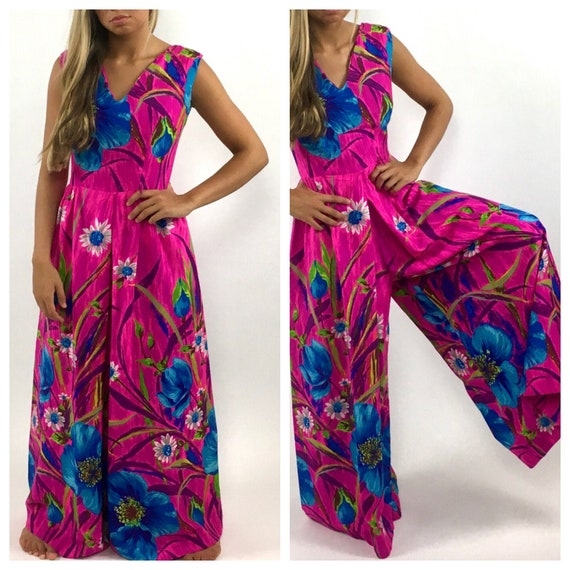 60s Hot Pink Palazzo Jumpsuit Bright Blue Floral … - image 1