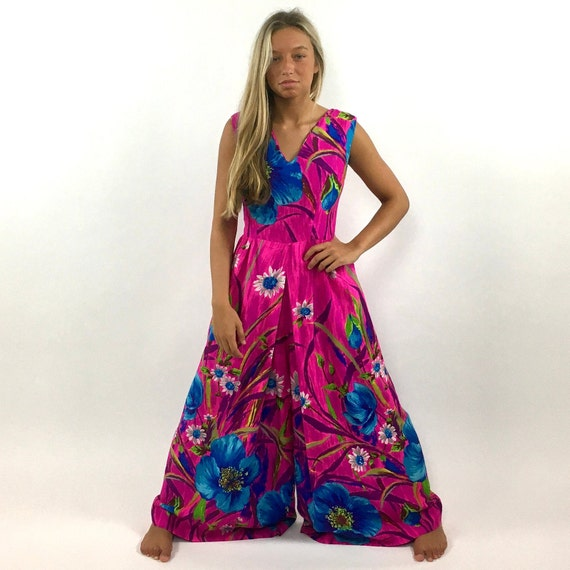 60s Hot Pink Palazzo Jumpsuit Bright Blue Floral … - image 6