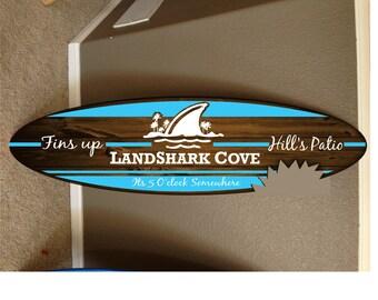 """Surfboard Wall Mount Decor Art Shark Bite Indoor Outdoor Hanging Board 55/"""" x 11/"""""""