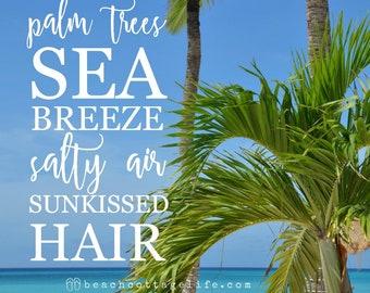 BEACH Photography Palm Trees Sea Breeze Salty Air Carribean coastal beach therapy blue turquoise Island Seaside Quote Coastal Tropical Aruba