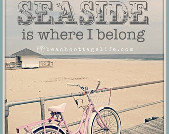 Pink Beach Bicycle - Boardwalk Seaside Cruiser Bike, Dock & Lifeguard Stand Cottage Coastal Chic Art Photography Island sand by the OCEAN