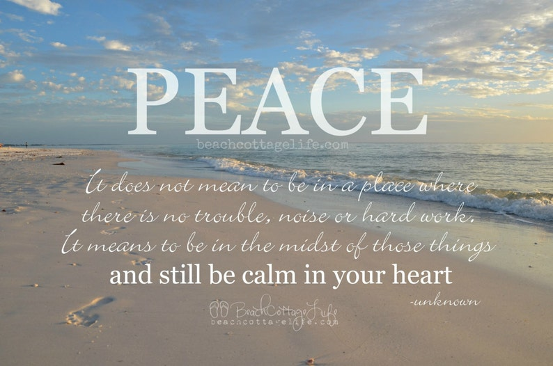 Peace Calm In Your Heart Motivational Quote Sunset Coastal Etsy