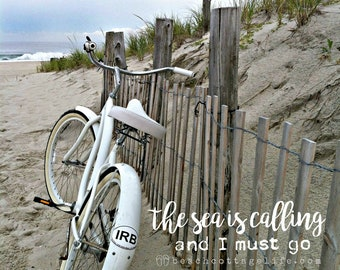 White Beach Bicycle / Seaside Cruiser Seashore Parked Along the Dune Fence neutral Cottage Shabby Chic Wall Art Photography OCEAN Home Decor
