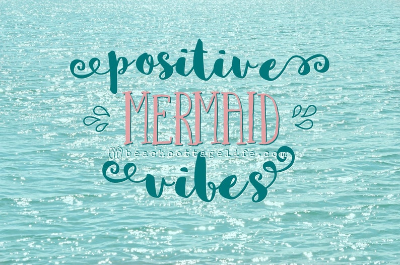 POSITIVE MERMAID VIBES Sparkles / Aqua Coral Pink Teal Mint image 0