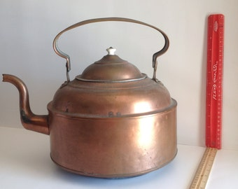 Brass kettle with handle and lid, vintage, antique