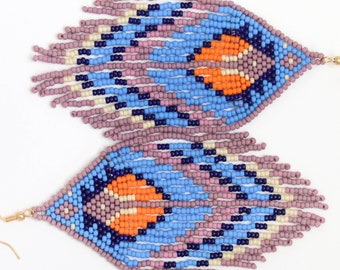 Free as a Feather - Tribal Inspired Beaded Fringe Earrings