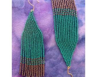 Jade + Gold Dipped Beaded Fringe Earrings