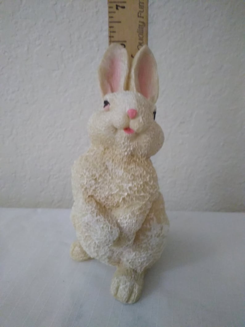 Folk Art Sculpture Cottage Decor Pair of White Easter Bunny Figurines Standing Rabbit Display Tabletop Centerpiece Decoration